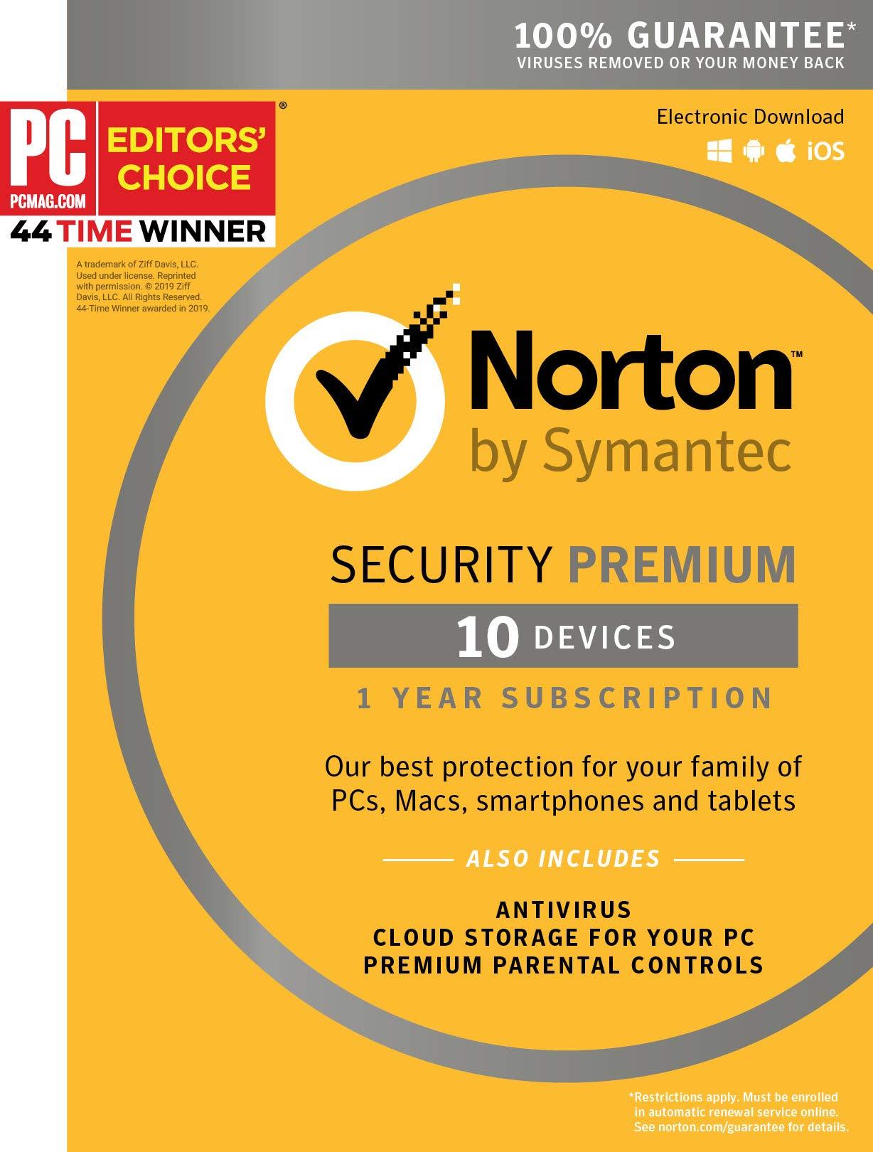 Symantec Norton Security Premium - 10 Devices - 1 Year Subscription [PC/Mac/Mobile Key Card] by Symantec
