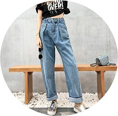 Amazon Com Boyfriend Jeans Pantalones Vaqueros Para Mujer Con Pierna Ancha Y Cintura Alta Pantalones Vaqueros Sueltos Azules Para Mujer Estilo Informal Vintage Azul Xl Clothing