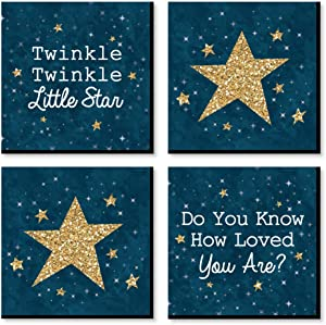 Big Dot of Happiness Twinkle Twinkle Little Star - Kids Room, Nursery Decor and Home Decor - 11 x 11 inches Nursery Wall Art - Set of 4 Prints for Baby's Room