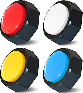 RIBOSY Set of 4, Dog Training Buzzer - Recordable Button - Record & Playback Your Own Message - 30 Second Recording Button (Battery Included)