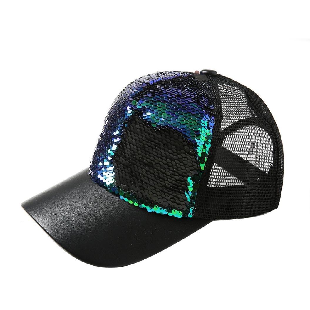 JPOQW Men Women Hats Double Color Mermaid Sequins DIY Adjustable Baseball Cap