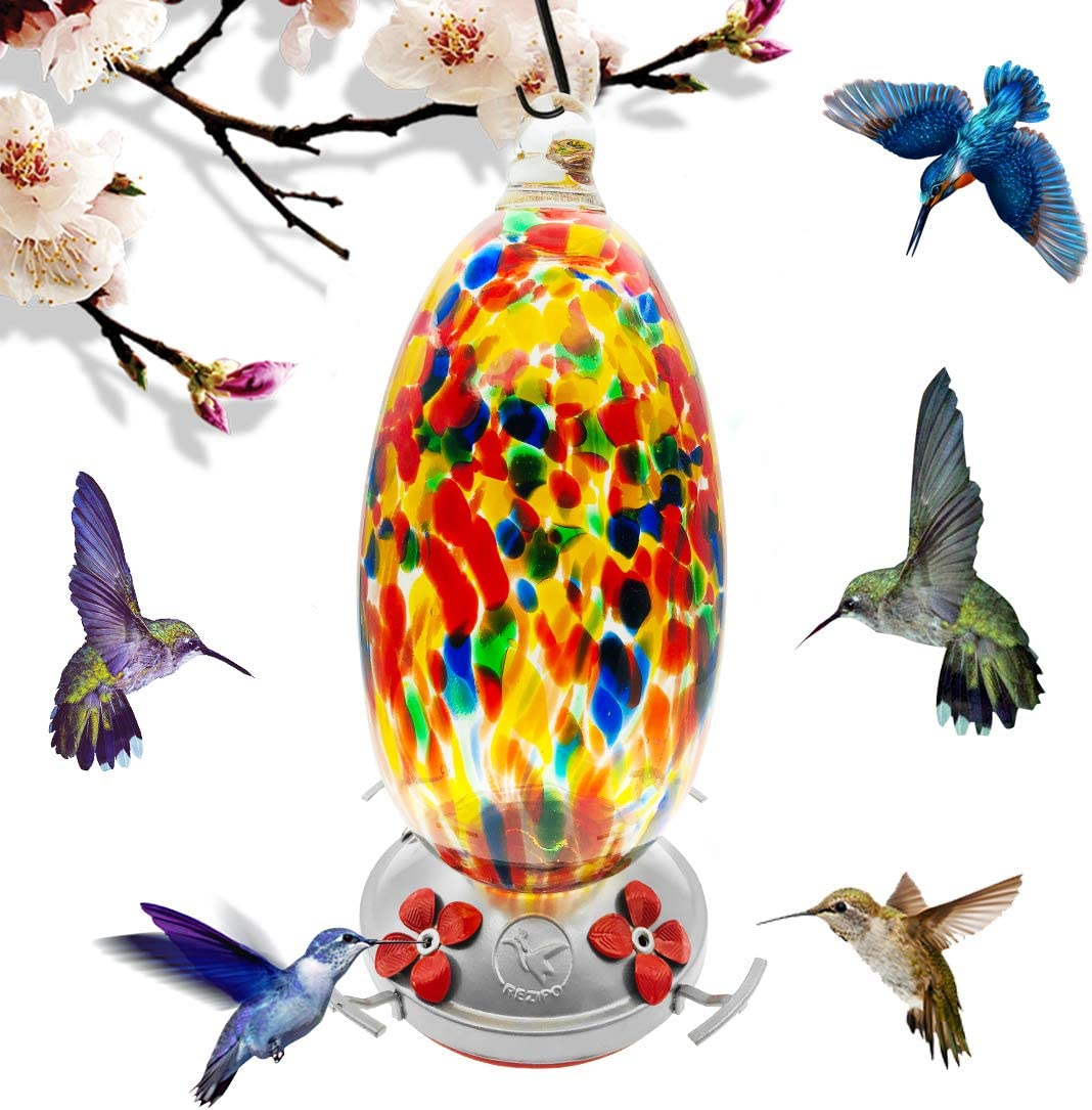 Hummingbird Feeder with Perch - Hand Blown Glass - Orange - 37 Fluid Ounces Hummingbird Nectar Capacity Include Hanging Wires and Moat Hook