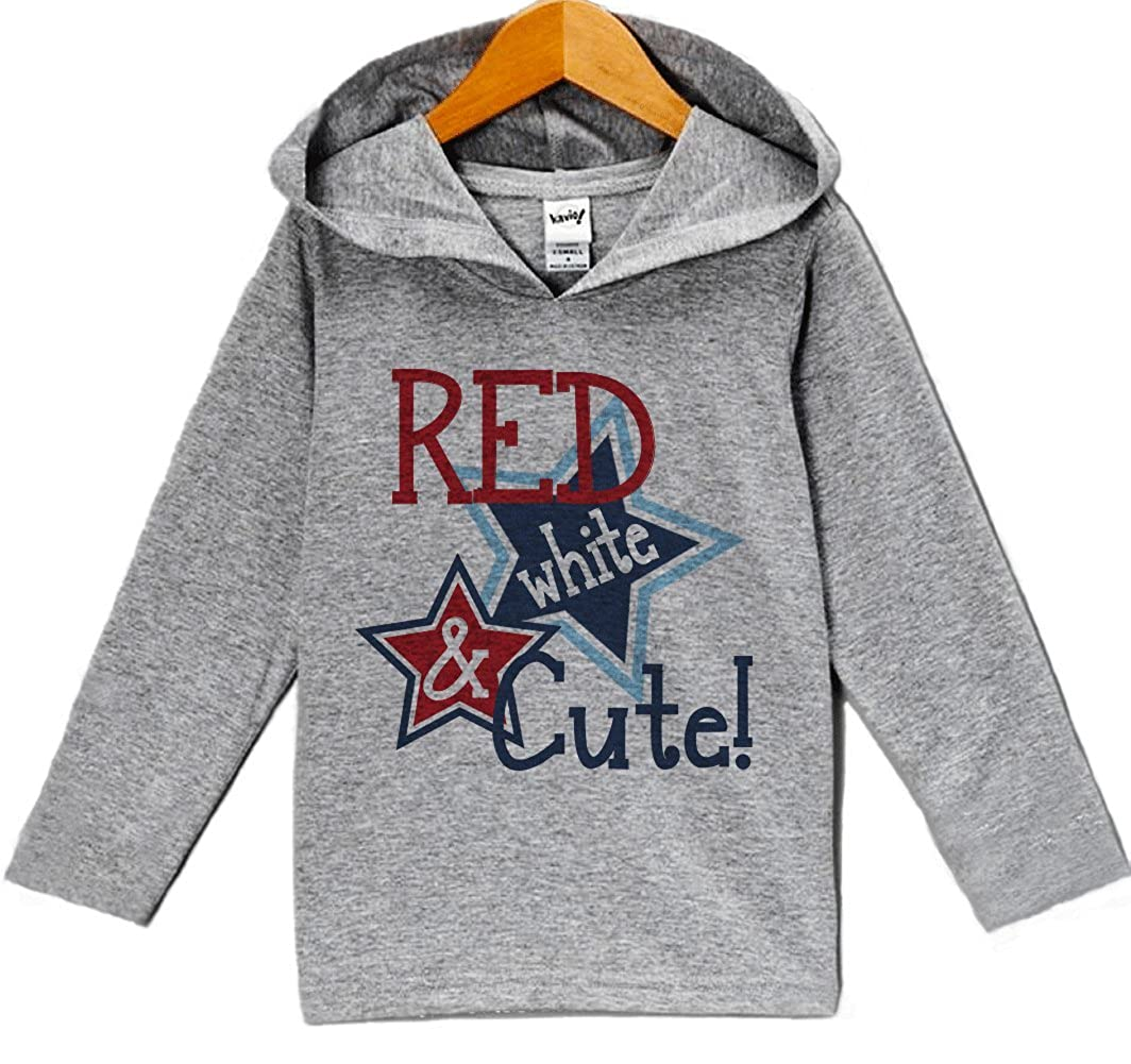 Custom Party Shop Baby Girls Red White /& Cute 4th of July Hoodie Pullover