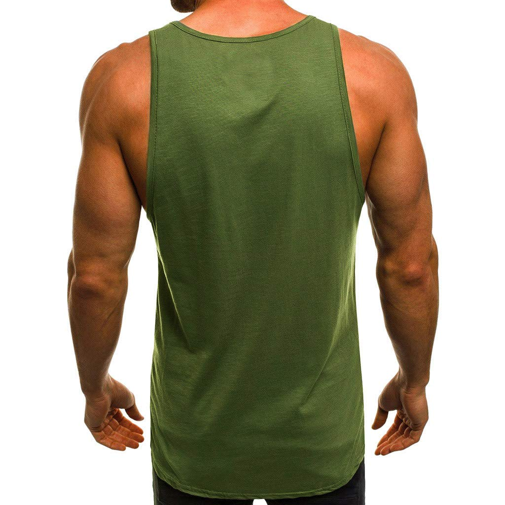 Viewk Fashion Mens Tank Top Casual Slim Letter Stripe Printed Sleeveless T Shirt Top Blouse Breathable Vests Gym Sports Wear Multi Color