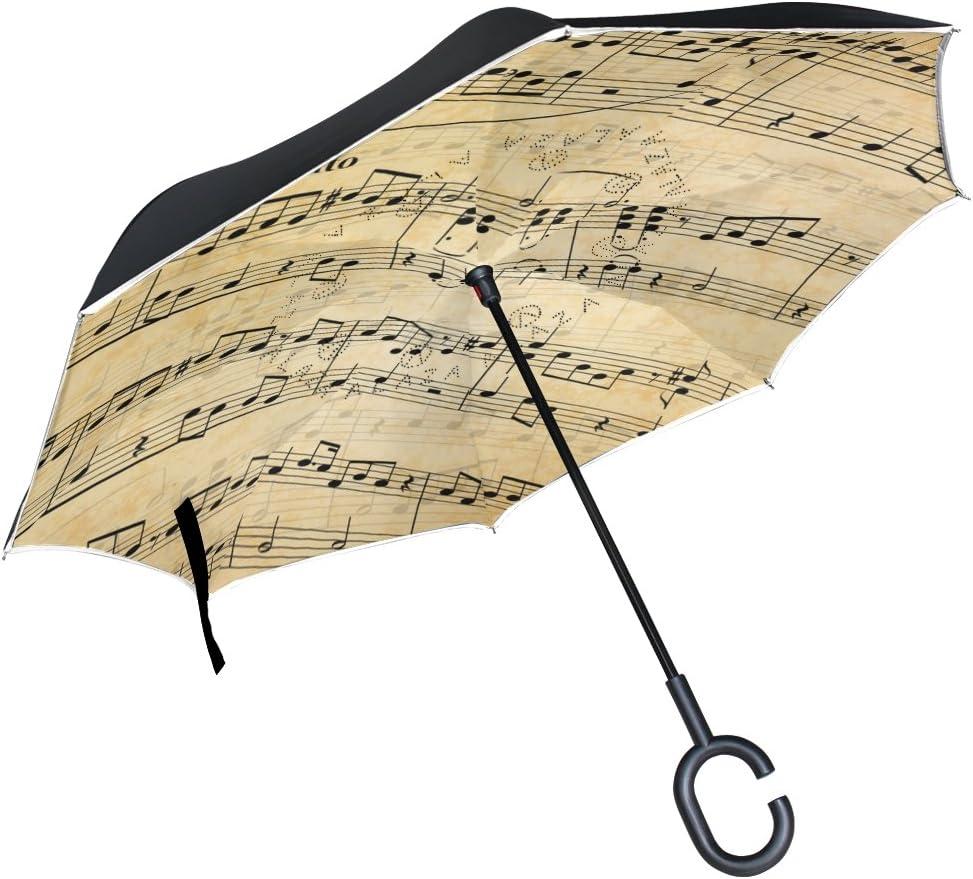 Pink Camouflage Inverted Umbrella Cars Reverse Umbrella Music Notes Vintage Windproof UV Proof Travel Outdoor Umbrella