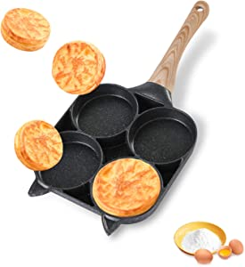 Egg Frying Pan,4-Cups egg cooker pan non-stick for Breakfast Home Cooking, Multi Fried Round Omelet Burger pancake pan.