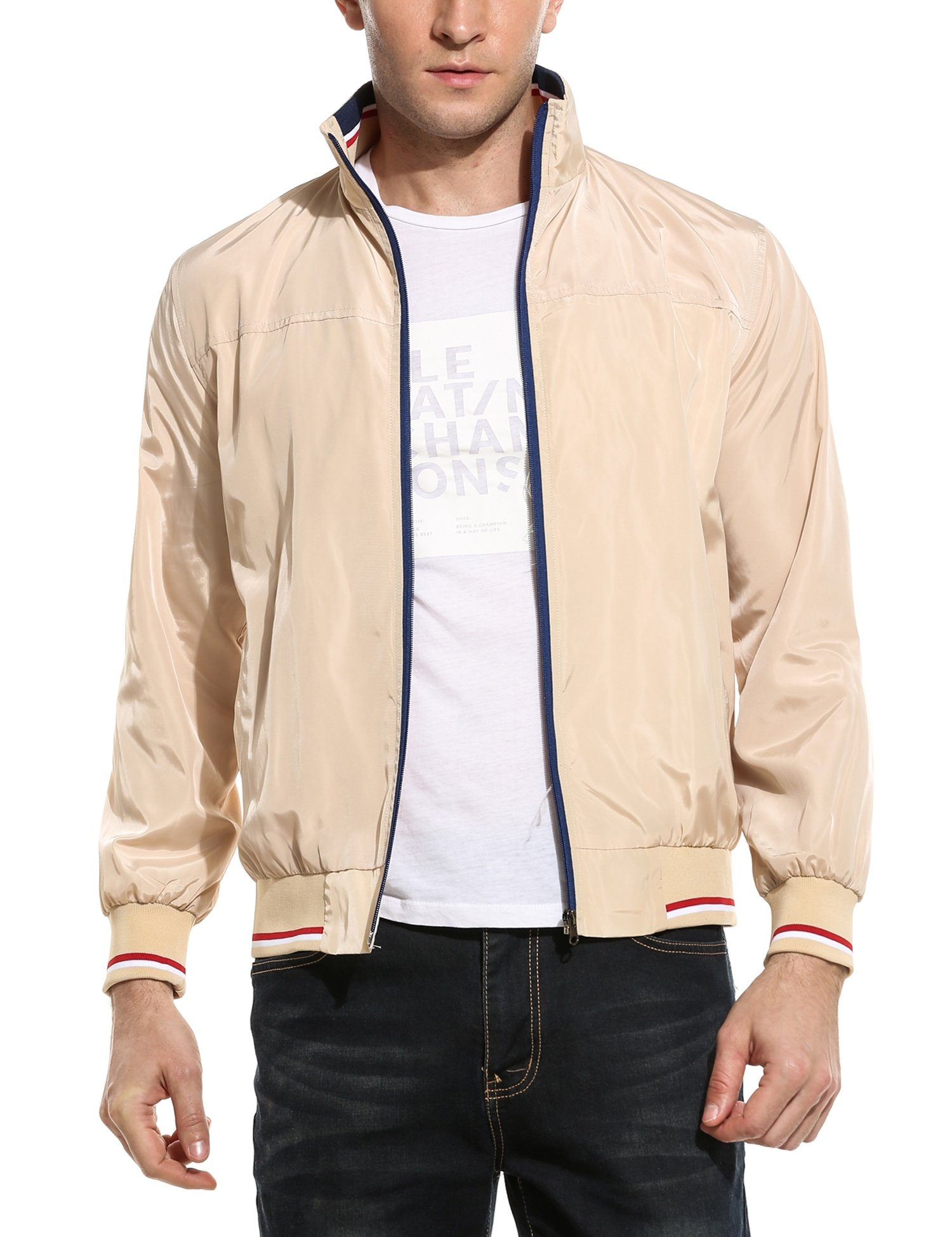 Coofandy New Men Casual High Neck Thin Striped Lightweight Slim Long Sleeve Bomber Jacket Apricot X-Large