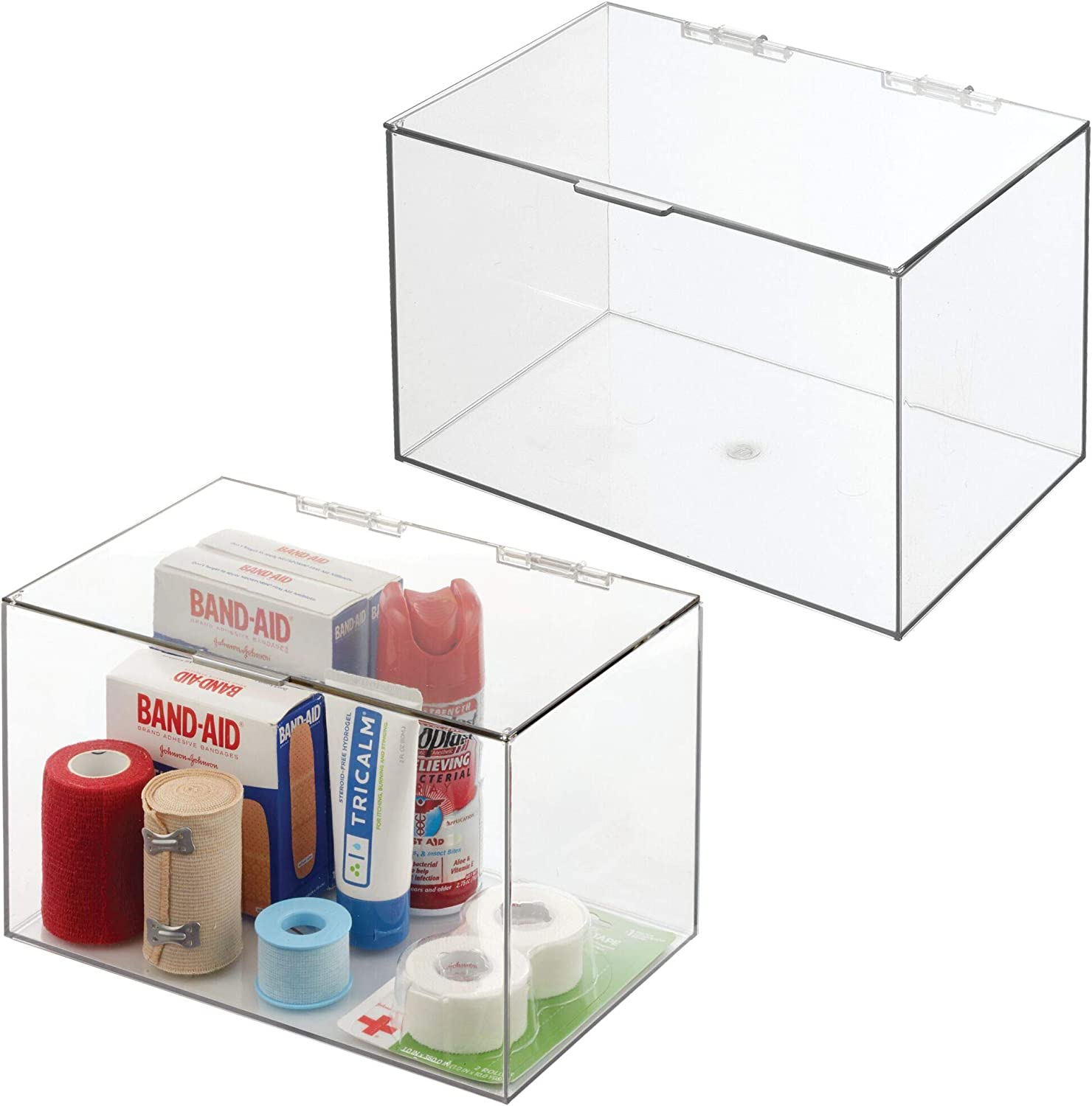 mDesign Bathroom Plastic Stackable Storage Display Container Box with Hinged Lid - Cabinet, Vanity Organizer for Toiletries, Makeup, First Aid, Hair Accessories, 6.5