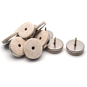 """Antrader Nail-on 1-1/2"""" Furniture Felt Pads Screw-in Furniture Glides Chair Table Foot Sliders for Wooden Furniture Legs 12-Pack"""