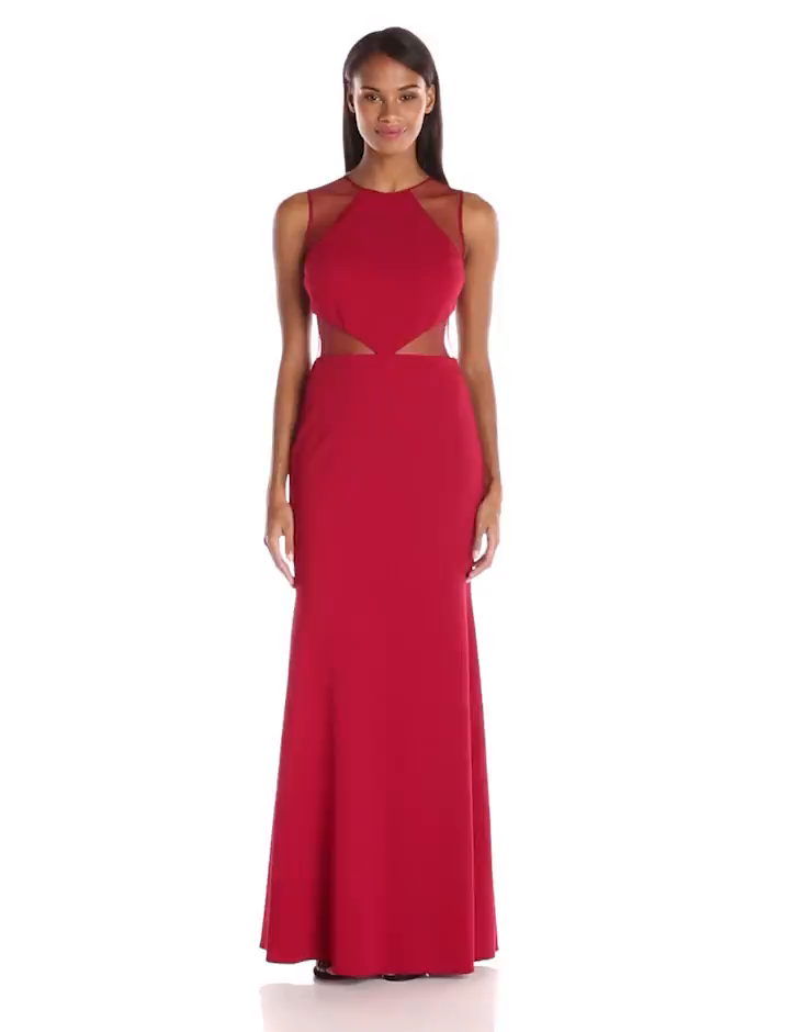 Amazon.com  JS Collection Women s Ottoman Gown with Illusion Mesh Cut Outs   Clothing f7c6d14af