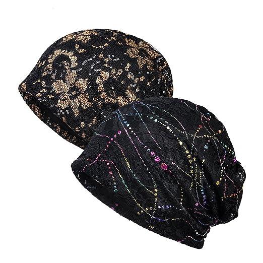 b208b95ed70 MaxNova Slouchy Beanie Hats Cotton Chemo Cap Turban Headwear Cancer Hats  for Women 2pack