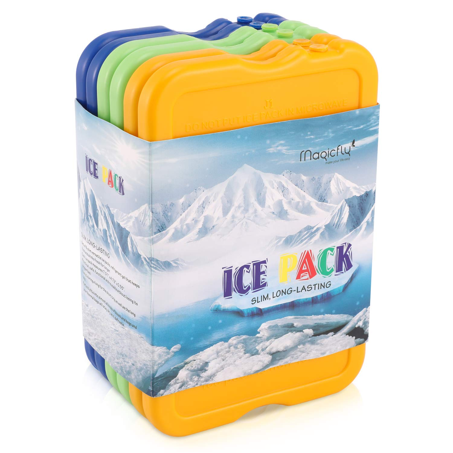 Lunch Ice Pack, Magicfly Set of 6 Reusable lunch Freezer Pack for Coolers, Larger Size with 7x4.7x0.5 Inches, Long Lasting Cool Cooler Slim Ice Pack for Lunch Box