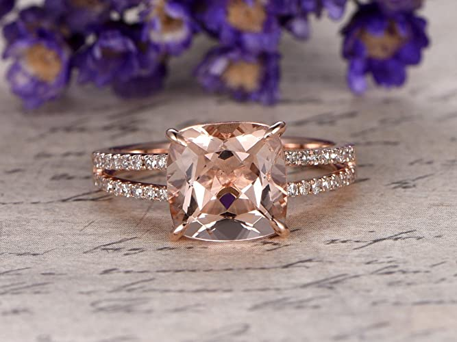 Amazon Com 8mm Cushion Cut Pink Morganite Engagement Ring Si I J
