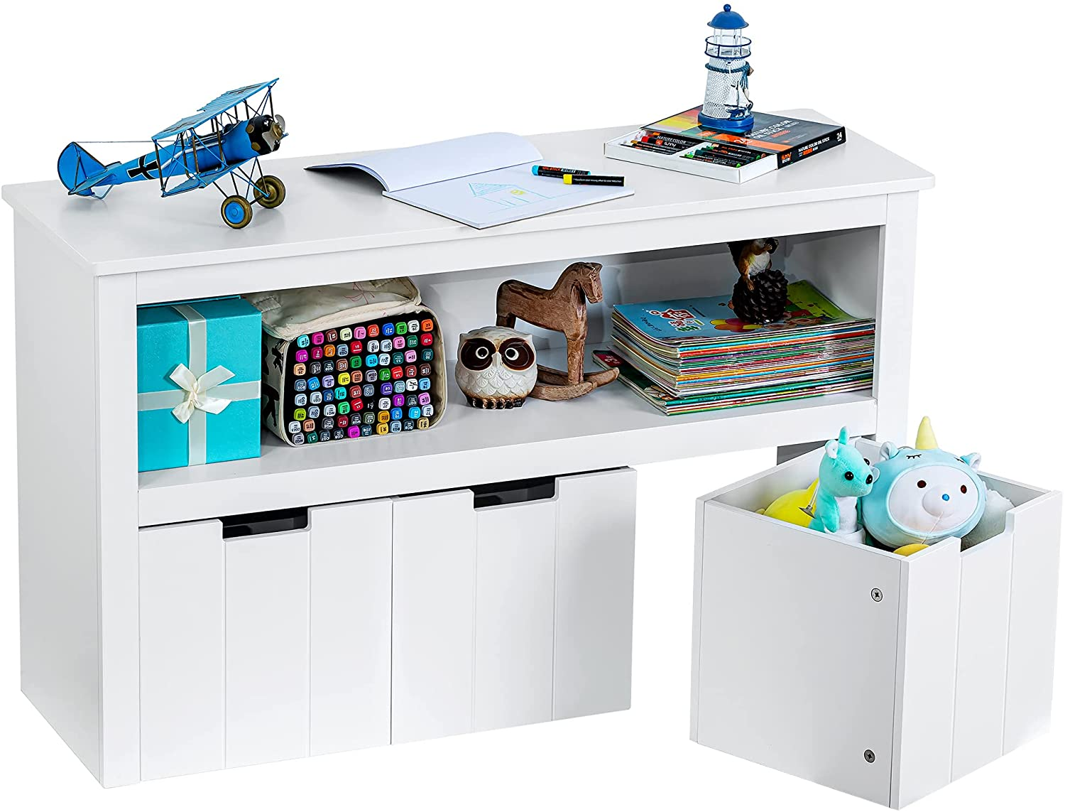 ZENODDLY Kids Toy Storage Organizer for Kids Room Organizers and Storage - 3 Drawers with Hidden Wheels, Multifunctional Wooden Kids' Bookcases, Cabinets & Shelves for Playroom Storage, White