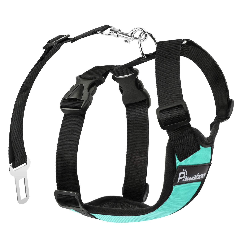 Pawaboo Dog Safety Vest Harness, Pet Dog Adjustable Car Safety Mesh Harness Travel Strap Vest with Car Seat Belt Lead Clip, Large Size, Navy BLUE & WHITE FBA_P7823-2087