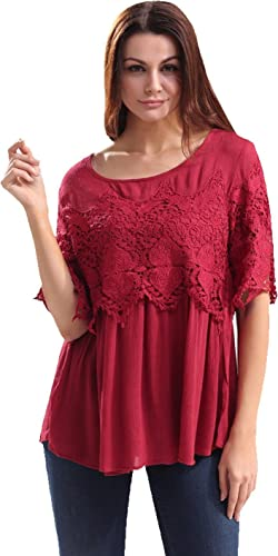 Jeansian Mujer Primavera Encaje Hollow Crochet Cropped Casual Blouses Camisa Tops WHW032