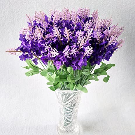 Amazon.com: 5 bouquet 10 Heads Artificial Lavender Silk Flower ...