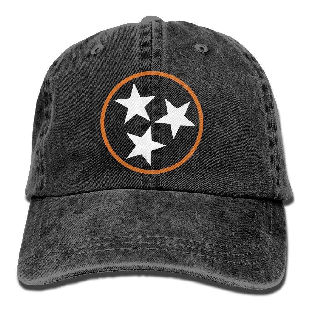 wuhgjkuo Tennessee Tri Star Flag Vintage Adjustable Denim Hat Baseball Caps ForAdult