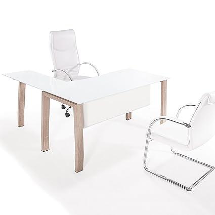 Adec - Mesa de despacho 150 cm modelo BLAKE estructura metálica acabado en color Oak y
