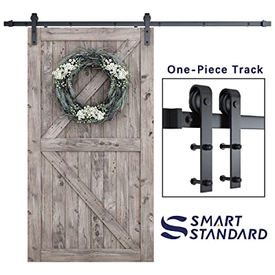 SmartStandard 8ft Heavy Duty Sliding Barn Door Hardware Kit