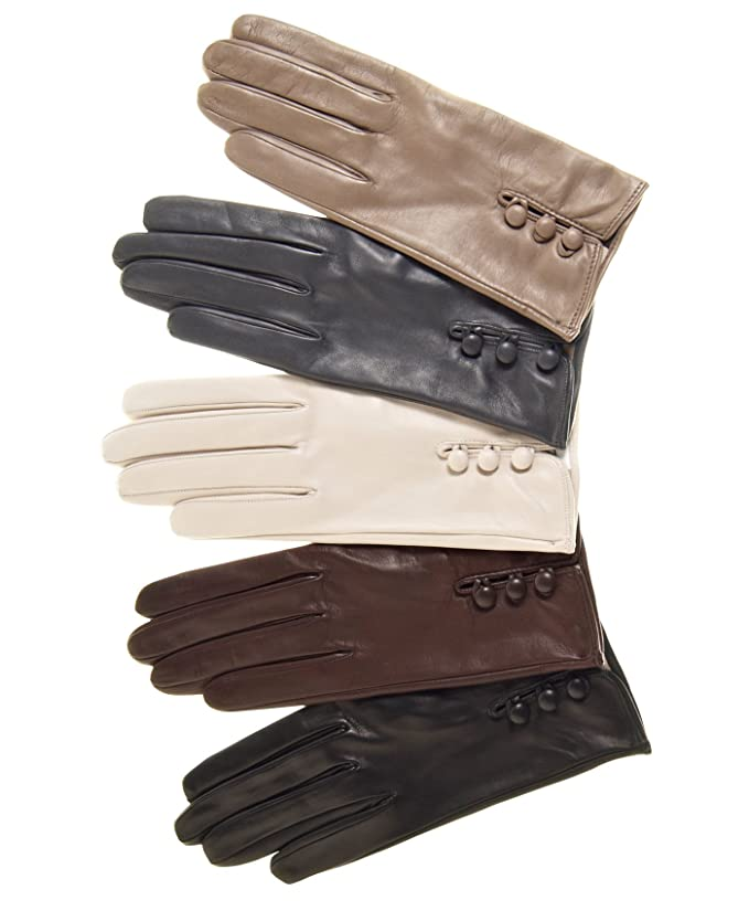Vintage Style Gloves- Long, Wrist, Evening, Day, Leather, Lace Fratelli Orsini Womens Italian Silk Lined Lambskin Leather Gloves with Buttons $115.95 AT vintagedancer.com