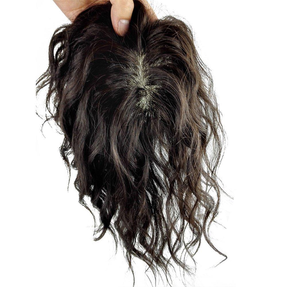 Remeehi 5.5''x6'' Mono Base Hand Made Tied Human Hair Hair Topper Natural Curly Hair Top Piece Natural Black (30cm/11.8inch)