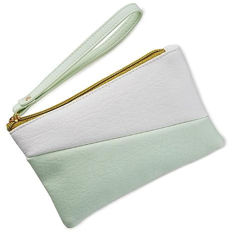 Monedero de bloque de color verde menta y blanco bolsas y ...