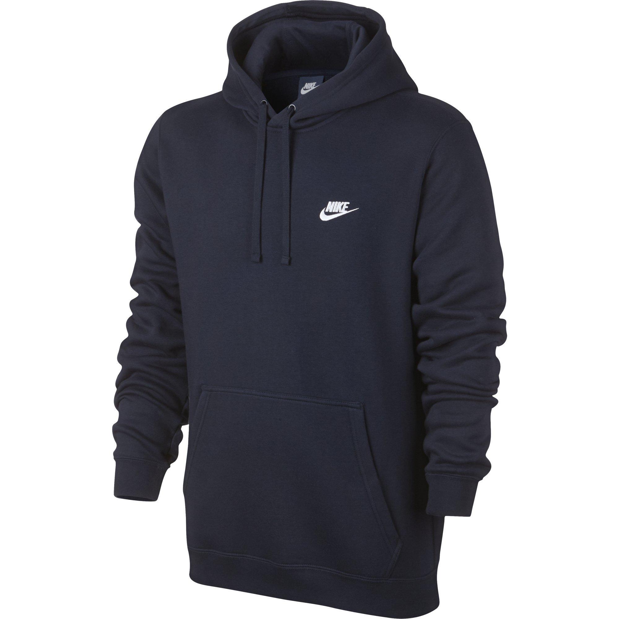 Men's Nike Sportswear Club Pullover Hoodie, Fleece Sweatshirt for Men with Paneled Hood, Obsidian/Obsidian/White, S