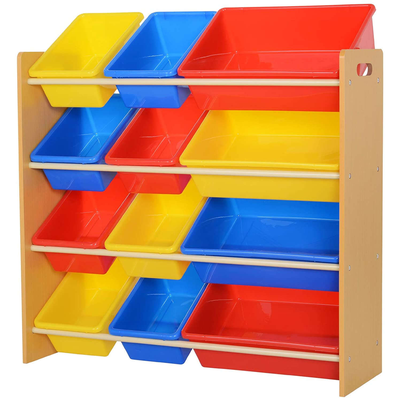 Homcom /Étag/ère pour Jouets Enfants Meuble de Rangement 12 casiers Plastique Amovibles Inclus Cadre MDF Coloris Bois de h/être