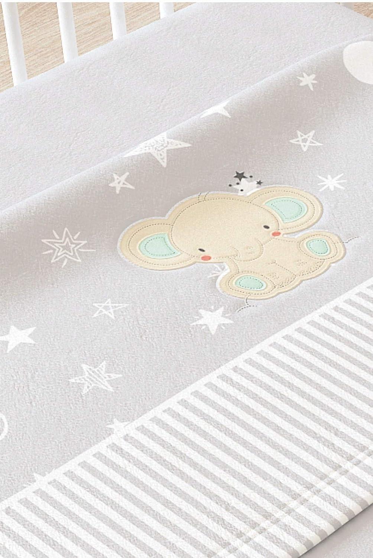 Juego de sábanas de sedalina bordada modelo ELEFANTE (Beige, 60x120cms) Babychispitas