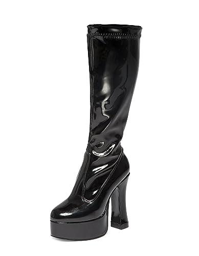 4b117334e6e Black Gogo Boots - Womens Black Patent Retro Knee High Platform Boots (3)