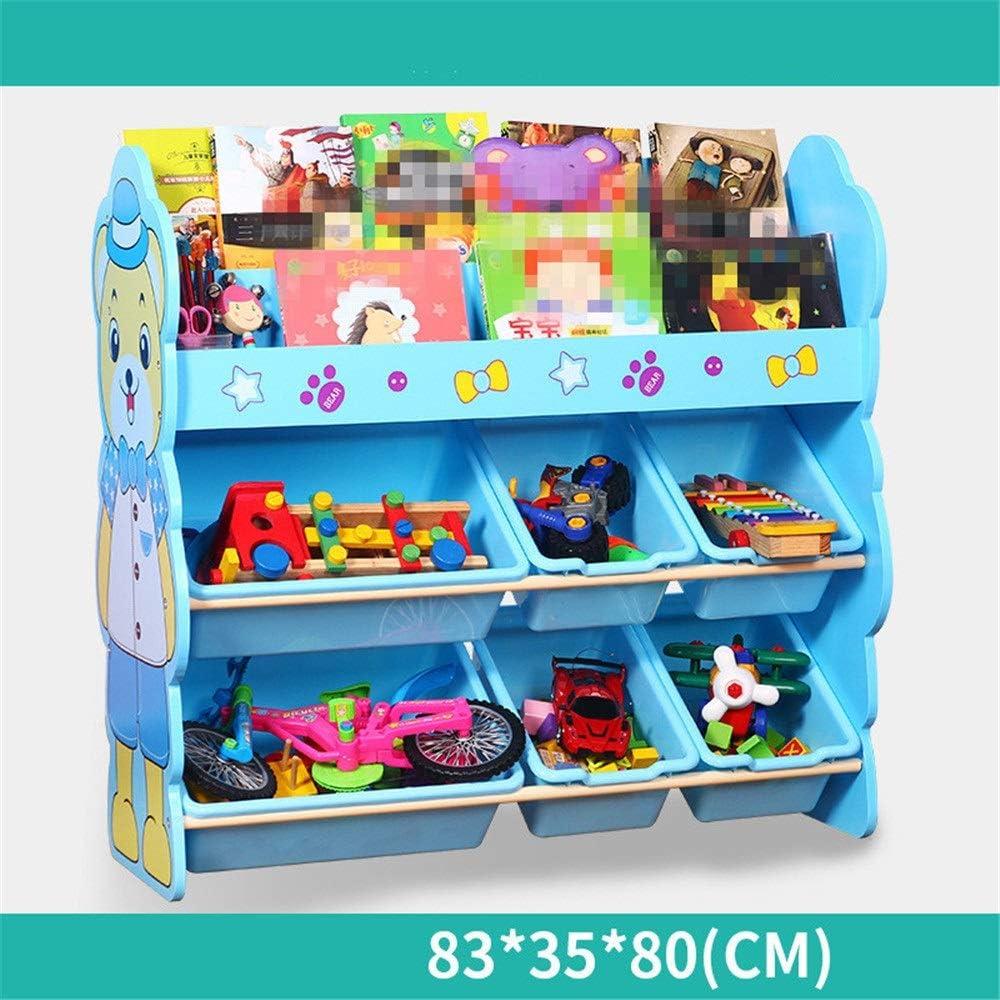 おもちゃ箱 ラック 収納ラックを仕上げる子供たち-おもちゃの収納を整理するために赤ちゃんの子供のおもちゃ犬のおもちゃベビー服子供の本 (Color : Blue, Size : Free size)