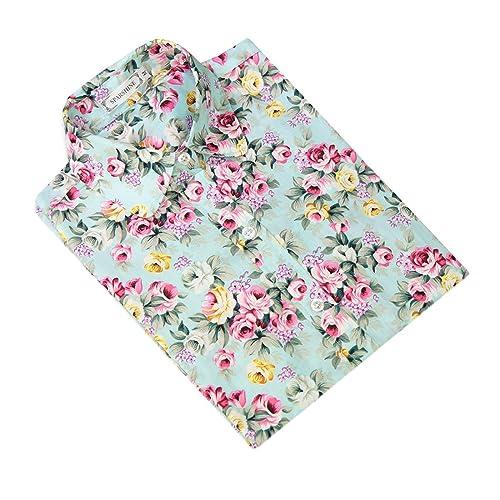 XueXian(TM) Mujer de Ocio Camisa con Patrón de Flores Brillantes de Moda Informal de Shirt