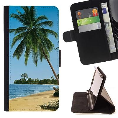FJCases Palmera Playa Verano Carcasa Funda Billetera con Ranuras para Tarjetas y Soporte Plegable para HTC U11