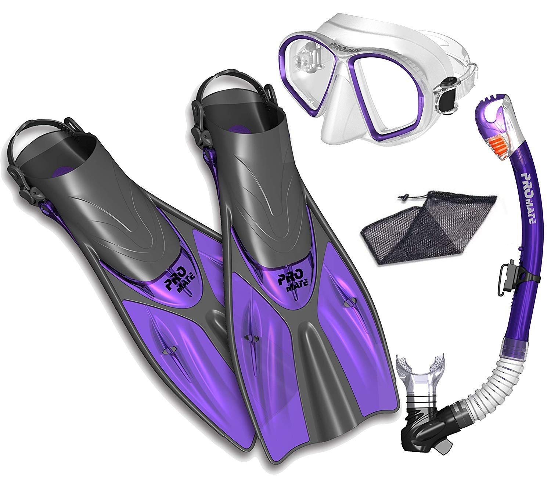 Snorkel Set Snorkeling Fins Snorkel Mask Combo Set, Purple, SM by Promate