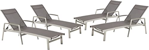 Christopher Knight Home 305163 Joy Outdoor Mesh and Aluminum Chaise Lounge Set of 4 , Gray