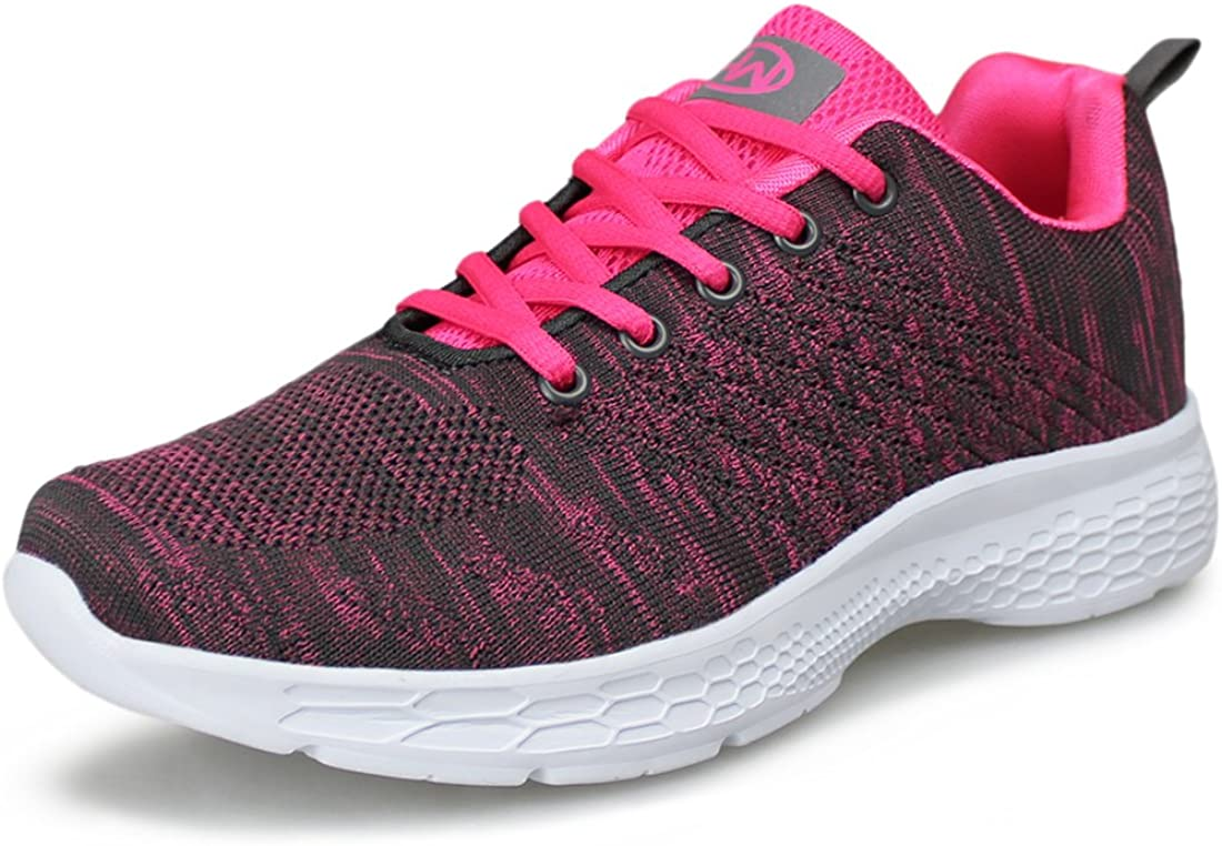 Hawkwell Womens Running Shoes Knit Breathable Lightweight Athletic Walking Sneaker
