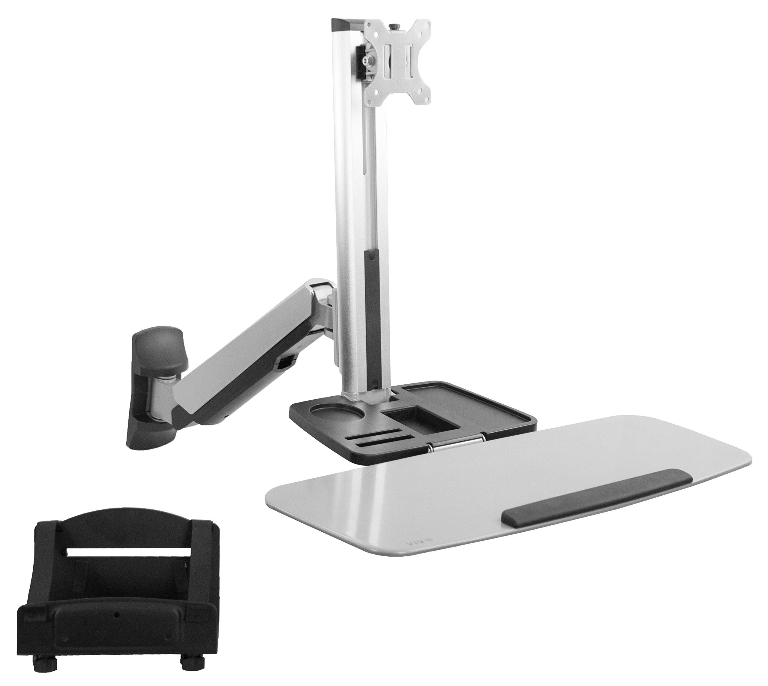VIVO Single Monitor & Keyboard Counterbalance Sit-Stand Wall Mount | Ergonomic Standing Transition Workstation (STAND-SIT1W)