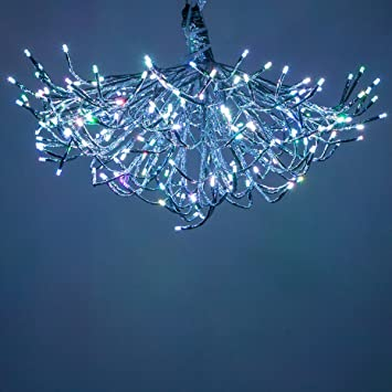rgb silver led starburst 5mm star light lighted branches christmas light balls 24