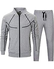 LBL Men's Athletic Tracksuit 2 Piece Jacket & Pants Full Zip Active wear Sweatsuit Set 3 Colors