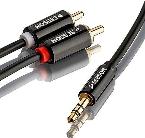 2m Cinch RCA Kabel Stereo Audio HiFi Kabel Cinch Koax Metallstecker vergoldet
