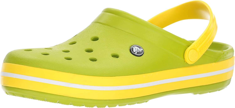 Crocs unisex-adult Crocband Clog | Comfortable Slip On Casual Water Shoe Volt Green/Lemon 9 Women / 7 Men M US
