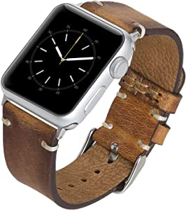 Venito Sarno Handmade Premium Leather Watch Band Compatible with The Newest Apple Watch iwatch Series 6 as Well as Series 1,2, 3, 4, 5 (Antique Brown w/Silver Stainless Steel Hardware, 42mm-44mm)