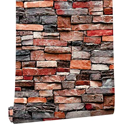 """Self Adhesive Wallpaper Peel and Stick Wall Contact Paper Shelf Liner, Decorative Brick Wall Sticker Waterproof Paper for Furniture Cabinet Countertop Bookshelf (17.7"""" Wide by 118"""" Long, 1 Roll): Home & Kitchen"""
