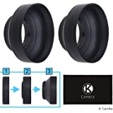 Camera Lens Hood 67mm - Rubber - Set of 2 - Collapsible in 3 Steps - Sun Shade / Shield - Reduces Lens Flare and Glare - Blocks Excess Sunlight for Enhanced Photography and Video Footage - Perfect Fit