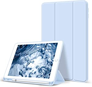 Aoub Case for iPad 6th/5th Greneration, Auto Sleep/Wake Slim Lightweight Trifold Stand Cover, Soft TPU Back Case with Pencil Holder for Apple iPad 2018 2017 9.7 inch, Light Blue