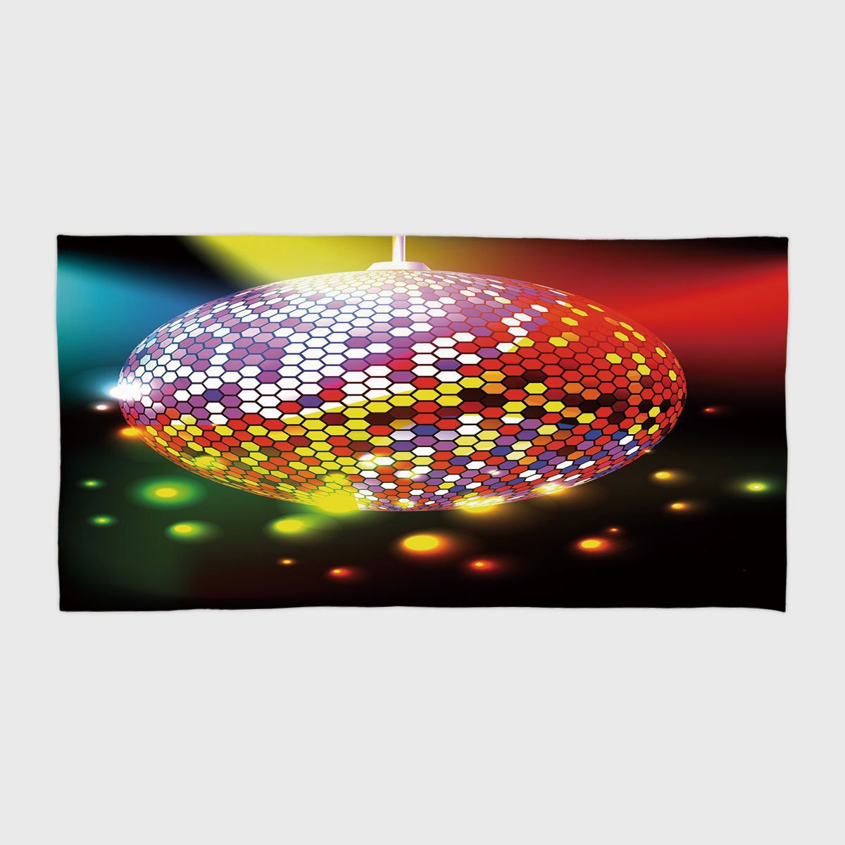 Cotton Microfiber Hotel SPA Beach Pool Bath Hand Towel,Popstar Party,Vibrant Colorful Disco Ball Nightclub Celebration Party Dance and Music Print Decorative,Multicolor,for Kids, Teens, and Adults