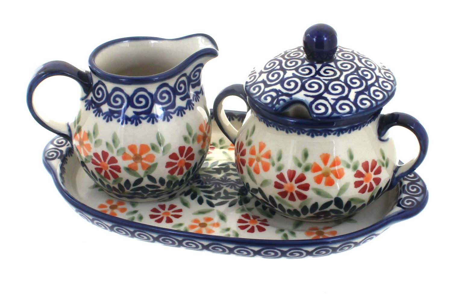 Blue Rose Polish Pottery Garden Bouquet Sugar & Creamer with Tray