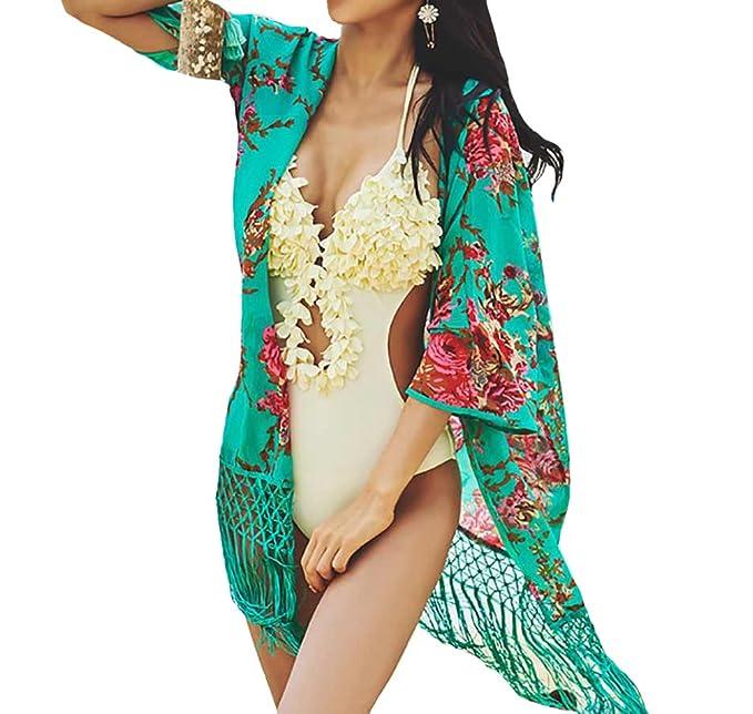 Bestyou Women's Print Sheer Chiffon Kimono Cardigan Swimsuit Cover Up Dress (Navy)