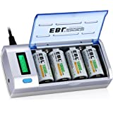 EBL LCD Universal Battery Charger and Discharger with 4 Pack 10000mAh Ni-MH Rechargeable D Batteries